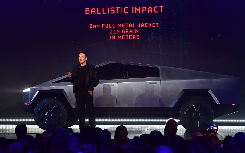Elon Musk presenting the upcoming Tesla Cybertruck