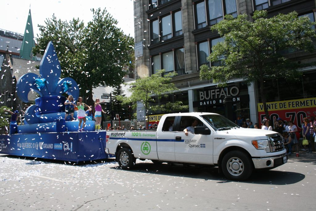 Ecotuned electric Ford F-150 towing parade float