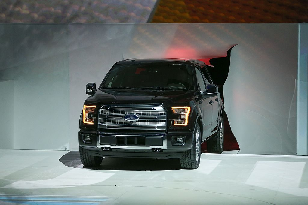 The Ford F-150 being unveiled at the North American International Auto Show