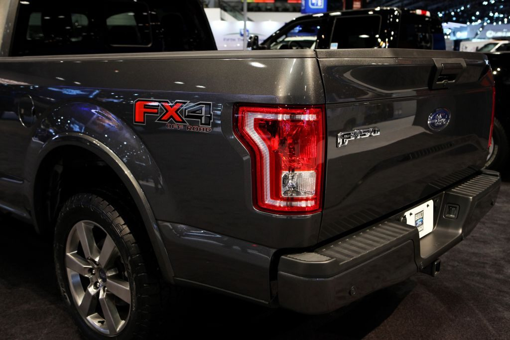 A Ford F-150 FX4 on display at an auto show.