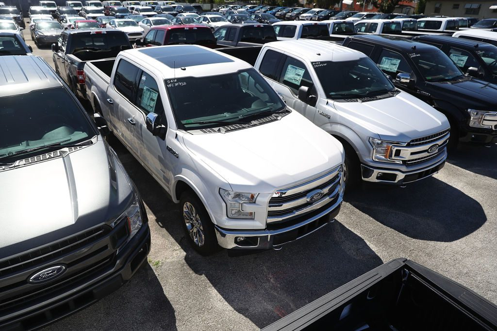 Ford F-150 models on display