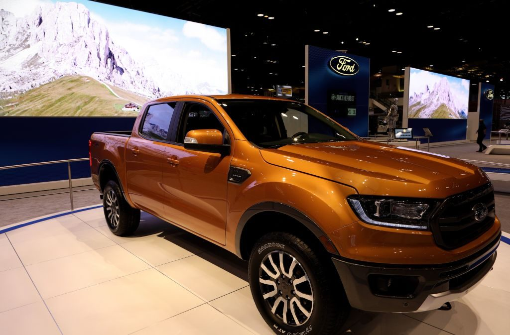 A 2019 Ford Ranger on display at an auto show