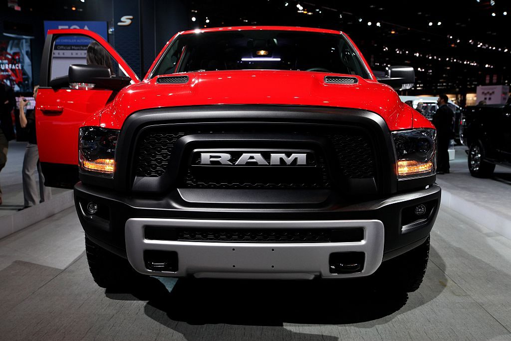 A Ram truck on display with a Hemi engine.