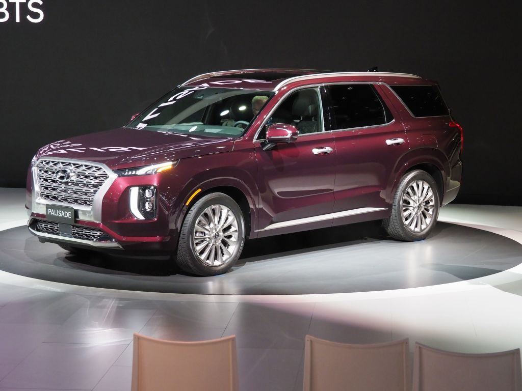 The 2020 Hyundai Palisade on display during an auto show.