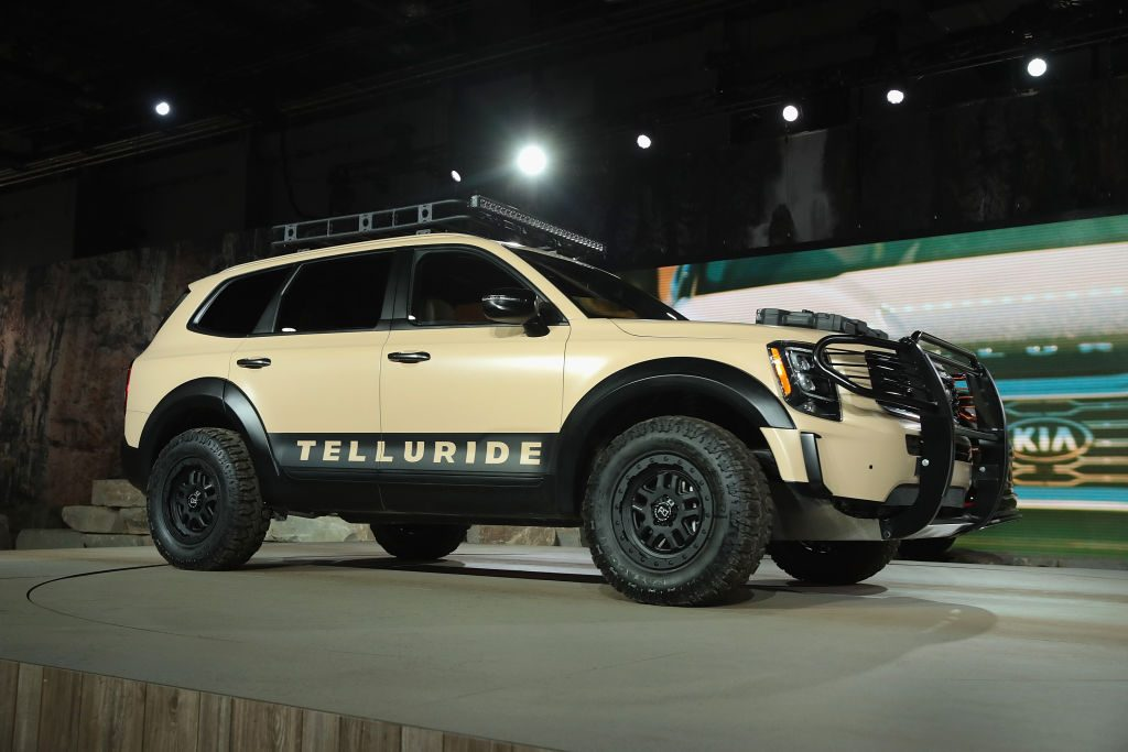 The new Kia Telluride on display at an auto show.