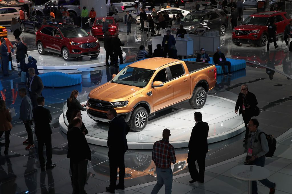A Ford Ranger pickup truck on display