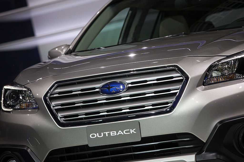 A Subaru Outback is unveiled at the New York International Auto Show