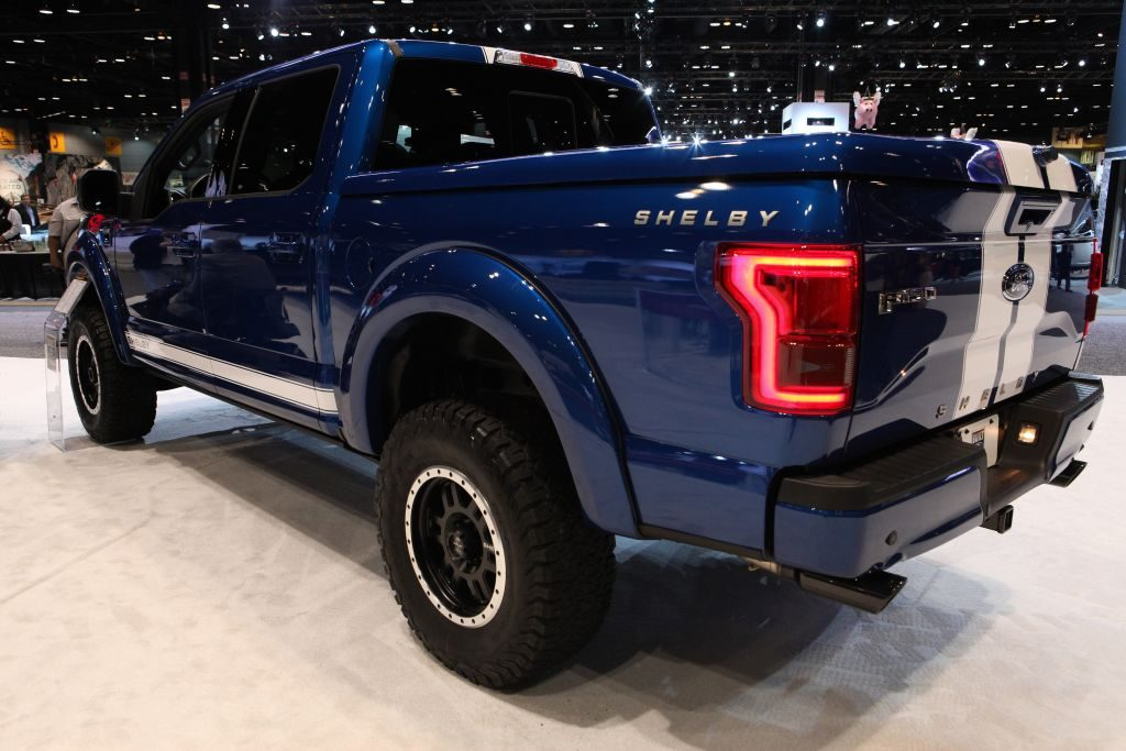 A Ford Shelby F-150 on display at an auto show.