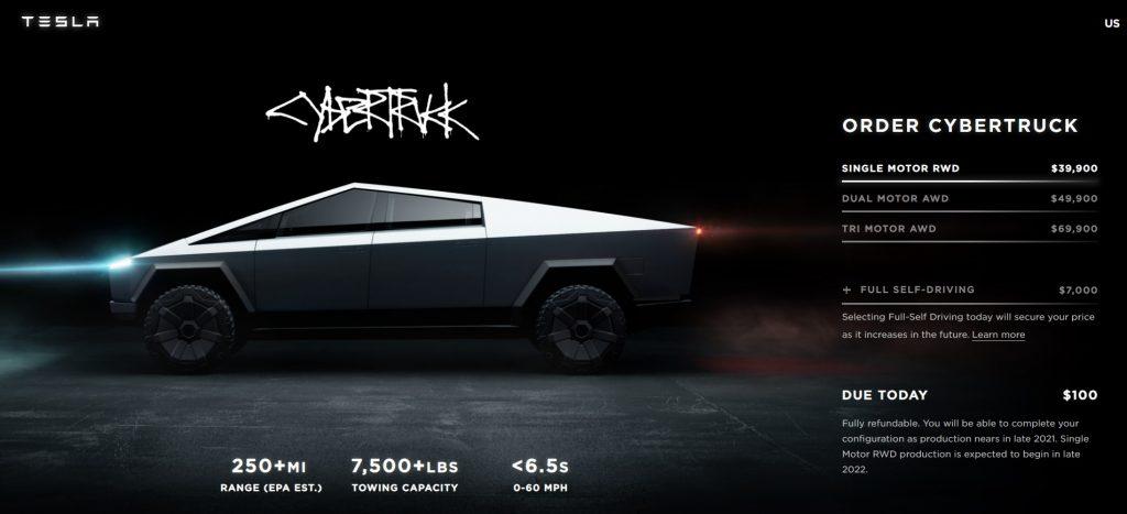 Tesla Cybertruck pre-order screen