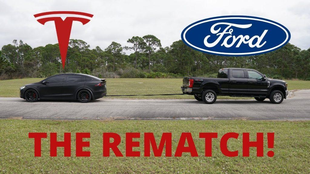 Tesla Model X vs Ford F-250 diesel towing tug-of-war