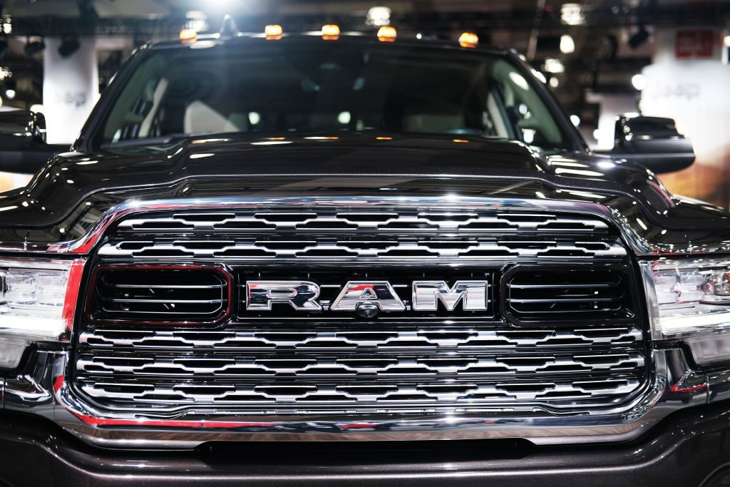 The grill of a 2020 Ram truck is displayed at the New York International Auto Show