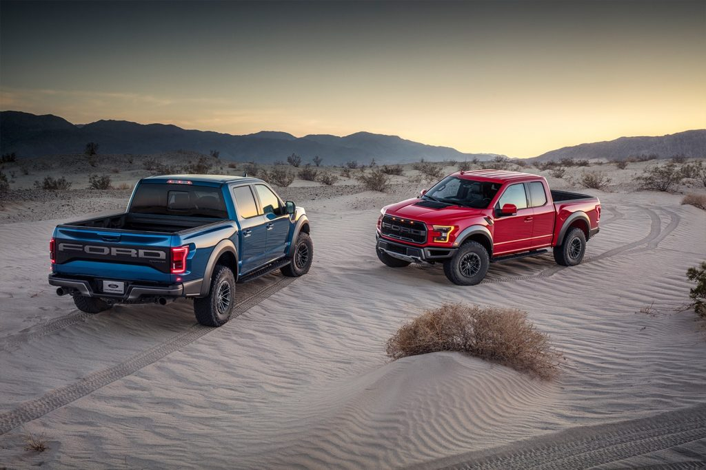 2019 Ford F-150 Raptors with Fox Live Vale electronic shocks