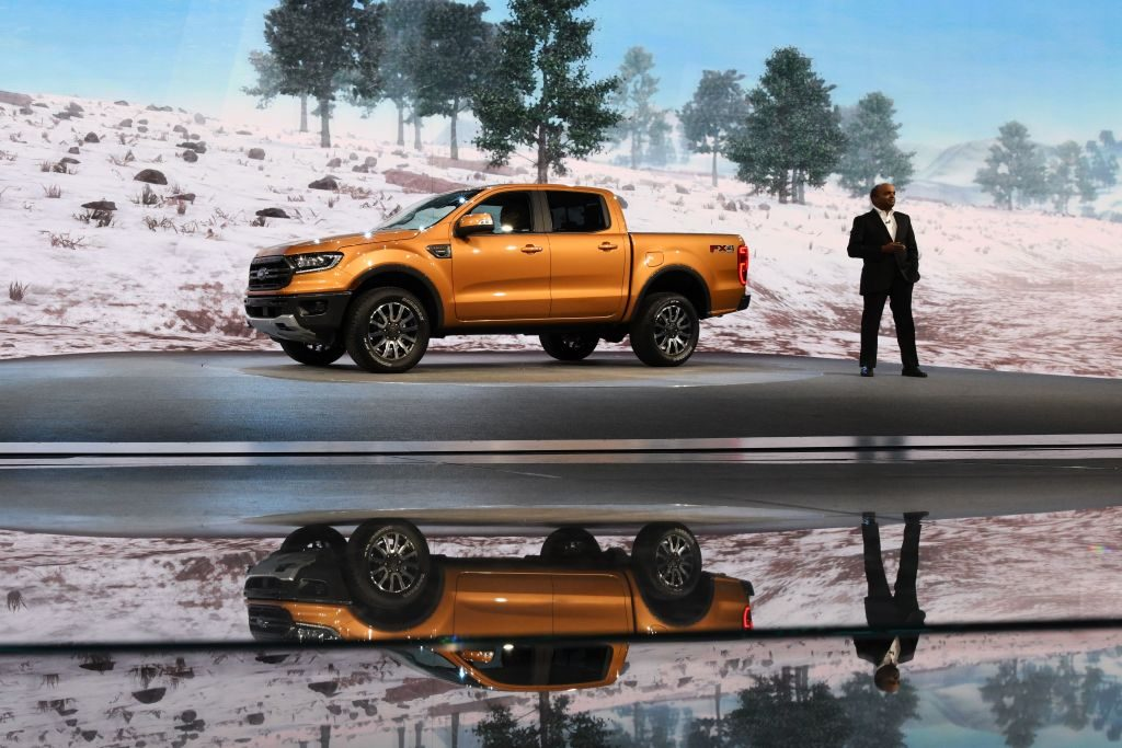 The 2019 Ford Ranger being debuted at an auto show