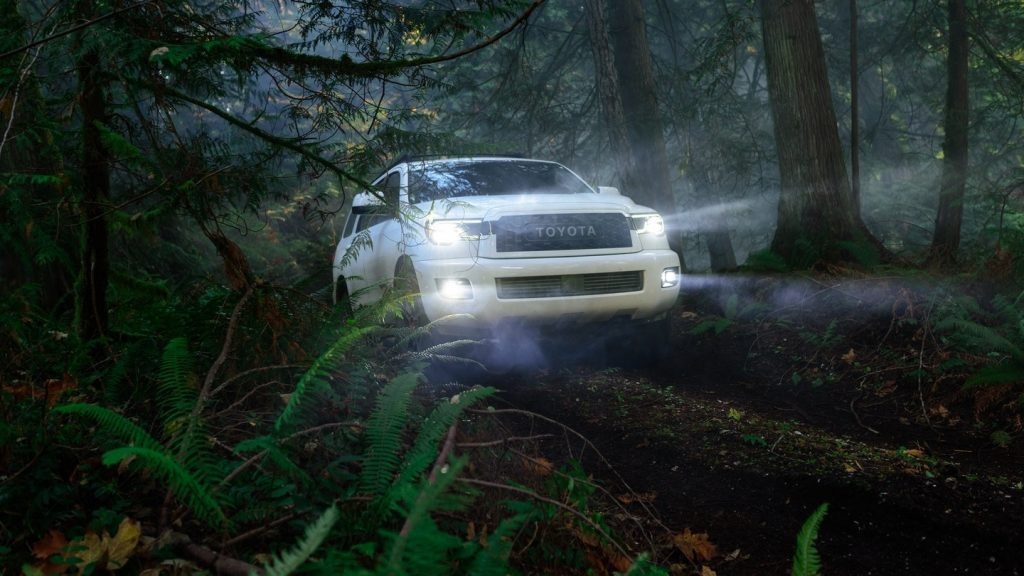 2020 Toyota Sequoia TRD Pro off-roading in the woods