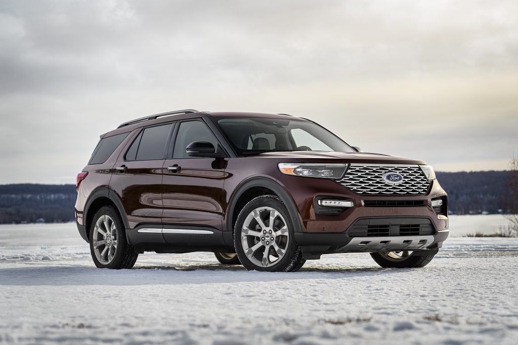 2020 Ford Explorer Platinum parked in snow