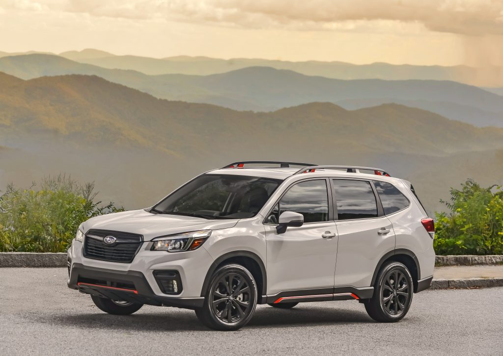 2019 Subaru Forester Sport parked in front of mountains