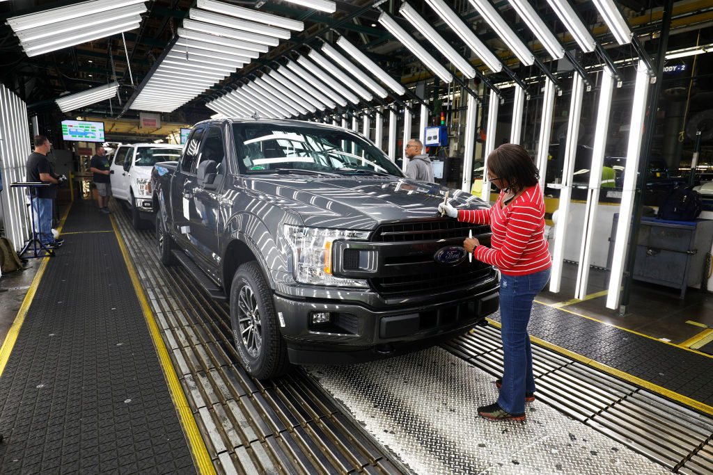 Ford F-150 trucks at the customer acceptance line at the Ford Dearborn Truck Plant