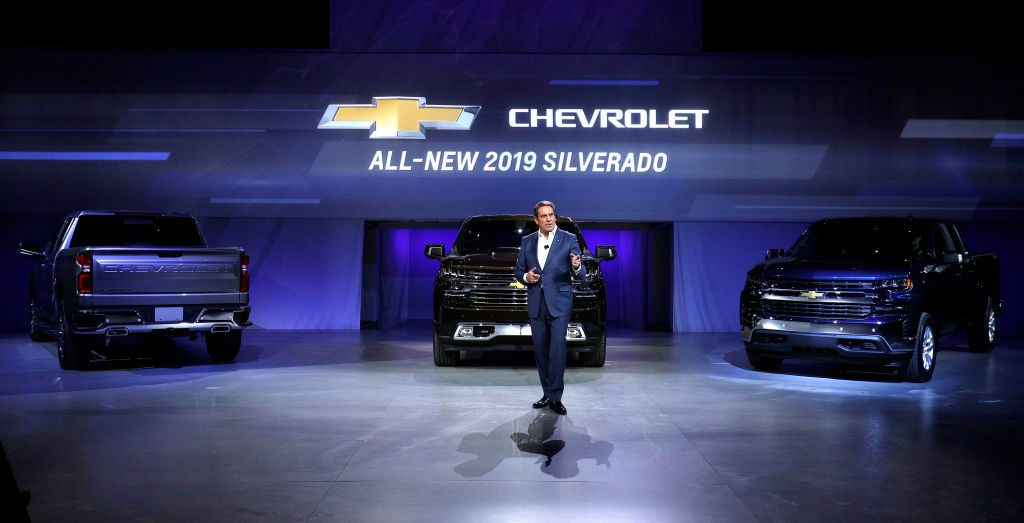 The new 2019 Chevy Silverado at the North American International Auto Show