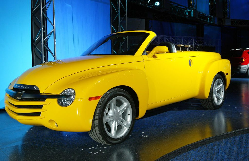 A Chevy SSR convertible pickup truck on display