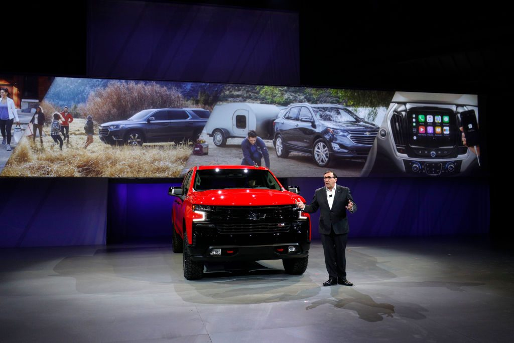 GM VP introduces the 2019 Chevy Silverado 1500 at the North American International Auto Show
