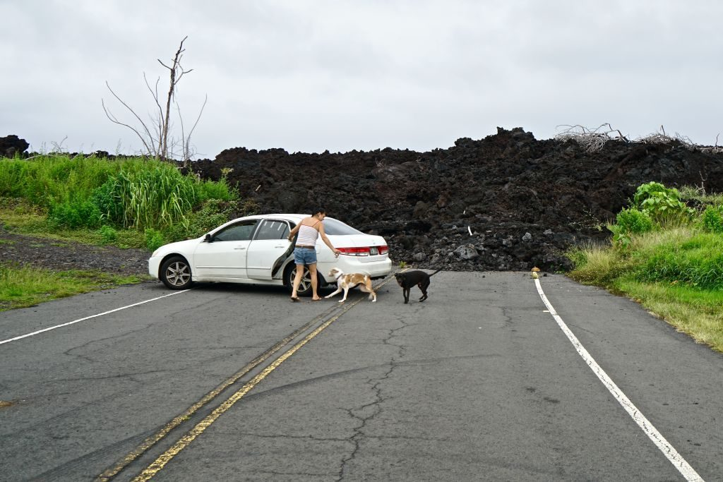 Lava intrusion from 2018 inside Isaac Hale Park on October 25,2019 in Big Island, Hawaii