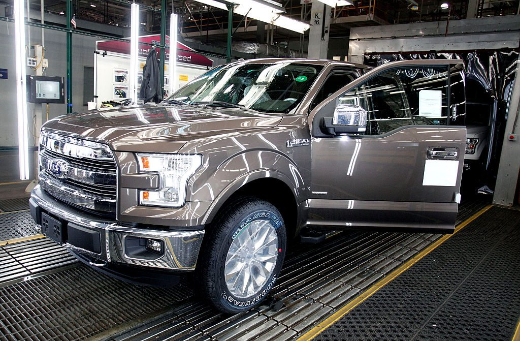 A Ford F-150 going through the assembly line