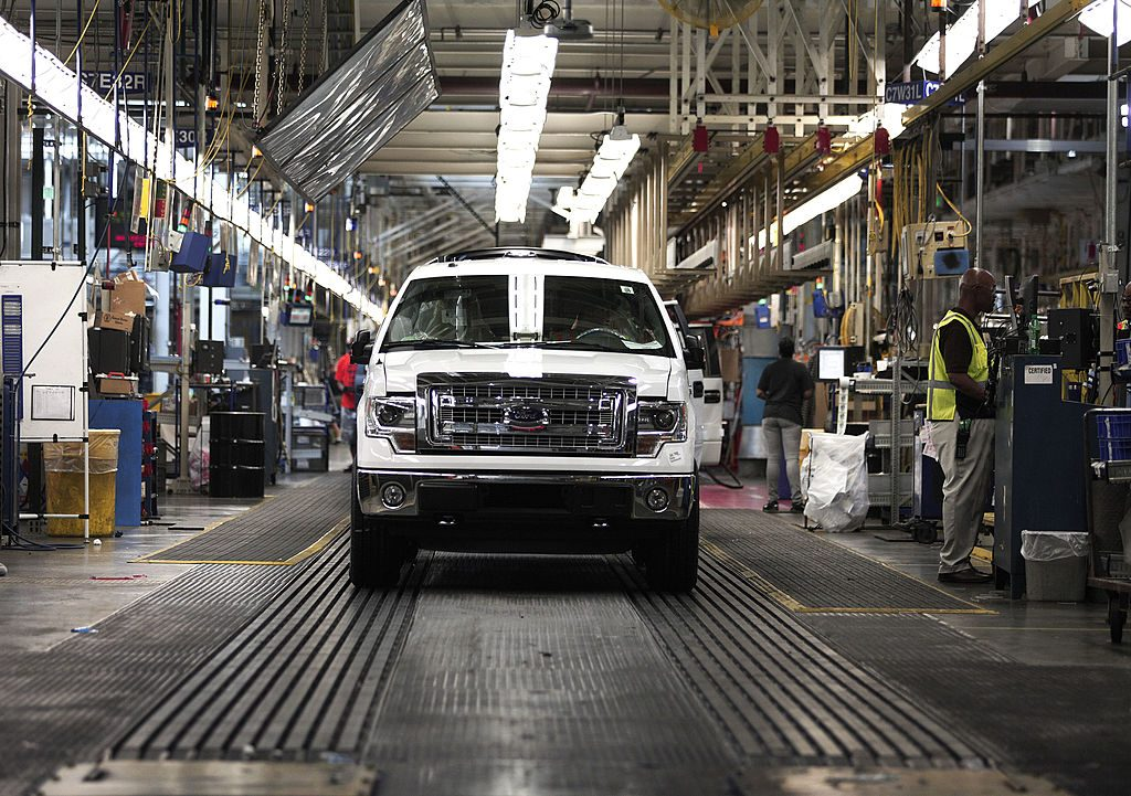 New Ford F-150 models coming off of the assembly line