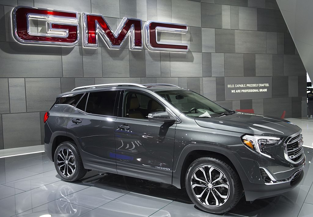 A GMC Terrain on display during an auto show