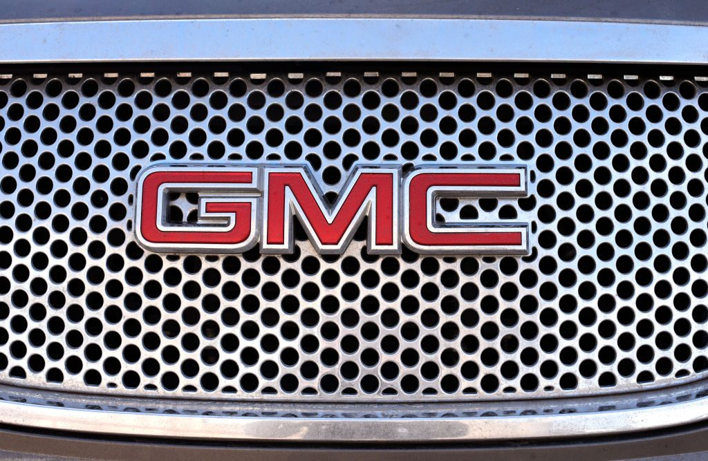 The grille of a GMC vehicle parked in Santa Fe, New Mexico.