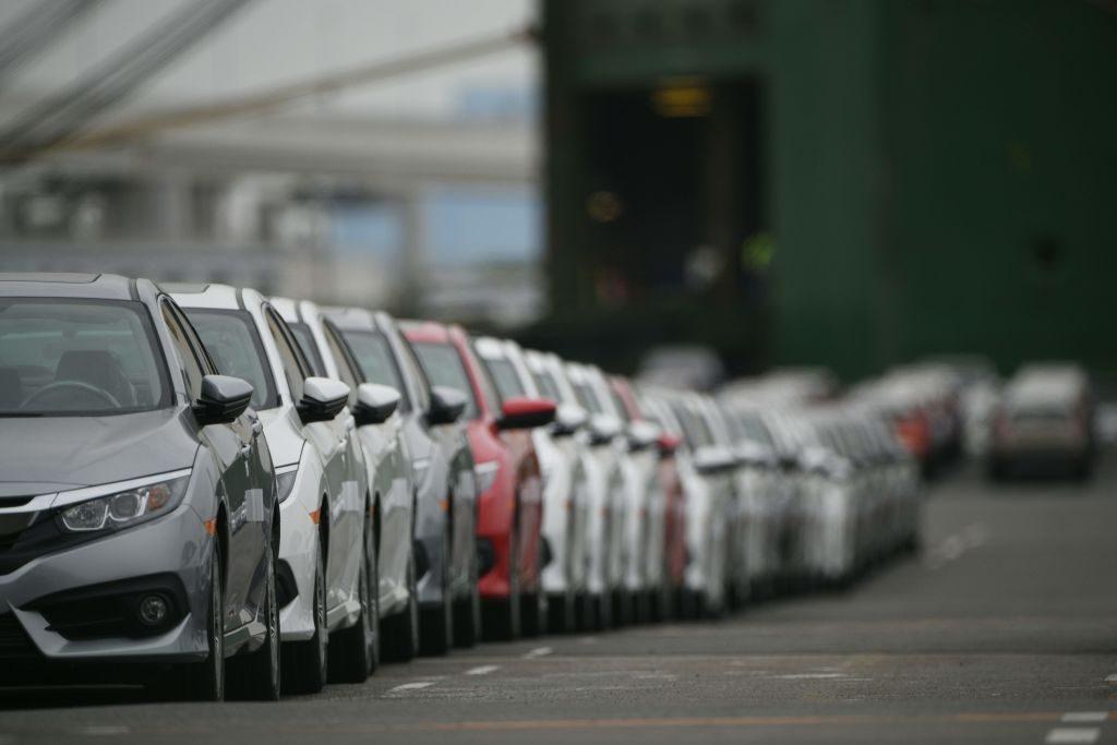 Honda Civic models parked in Japan