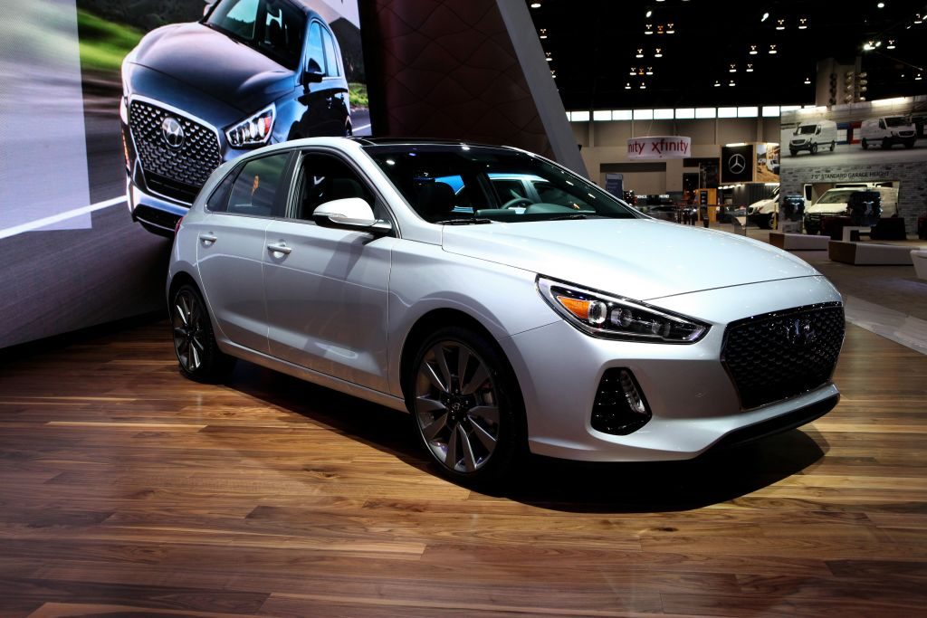 A Hyundai Elantra on display at an auto show