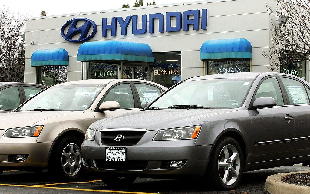 Hyundai Sonatas on display at a car dealership