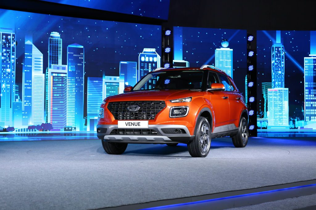 The Hyundai Venue at an unveiling in India