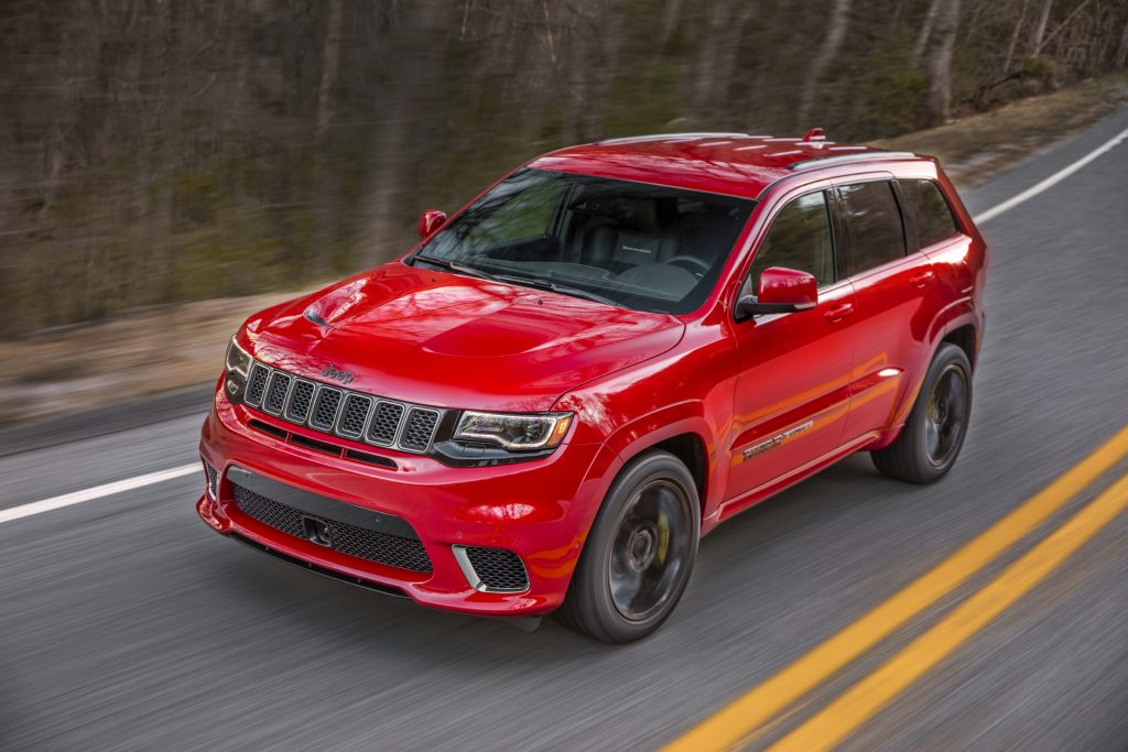 2020 Jeep Grand Cherokee Trackhawk driving on forest road