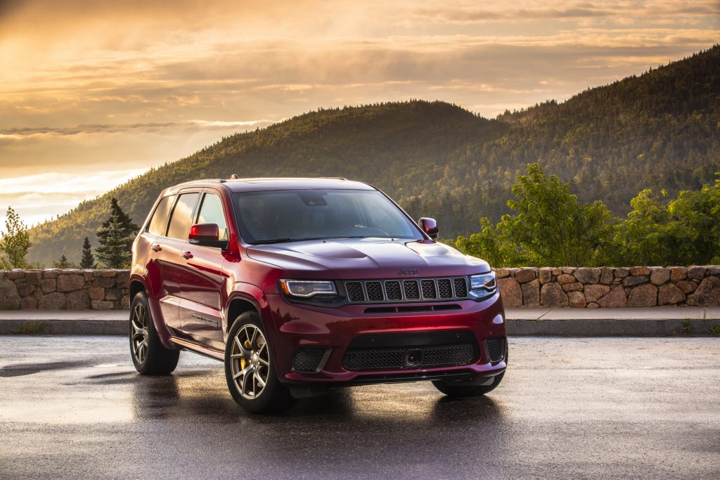 2020 Jeep Grand Cherokee Trackhawk by FCA parked near mountains