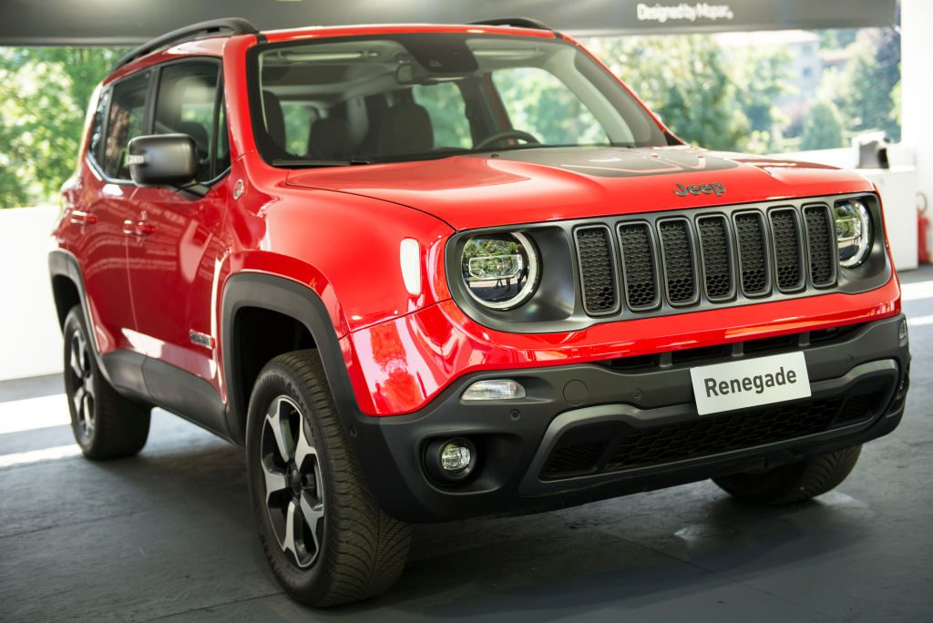A Jeep Renegade on display at an auto show