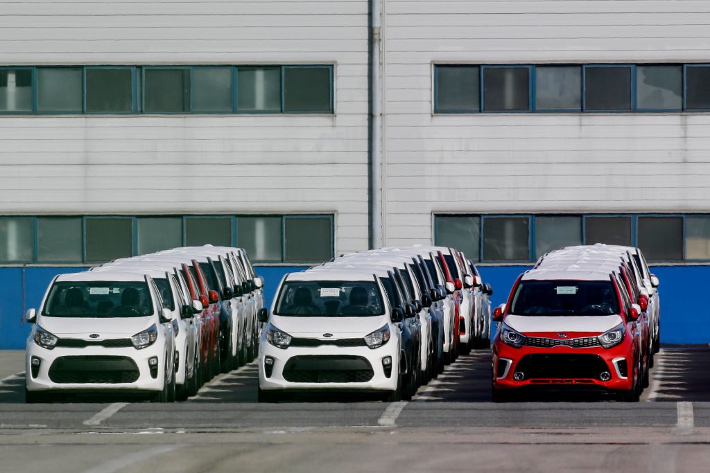 A shipment of Kia cars waiting to be load