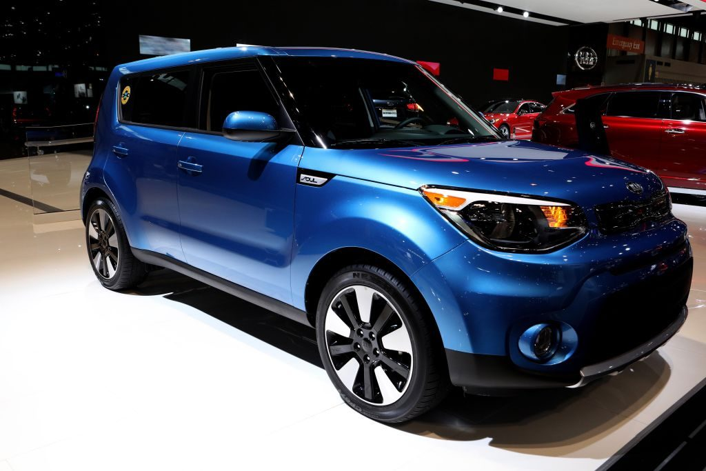 A Kia Soul on display at an auto show