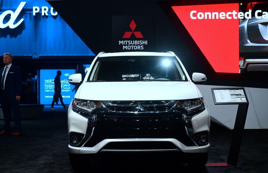 The Mitsubishi Outlander PHEV on display in Los Angeles
