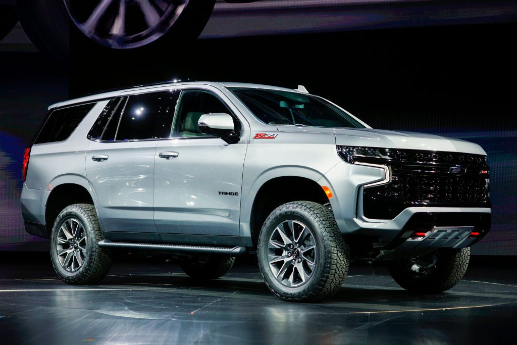 The new Chevrolet Tahoe on display at an auto show