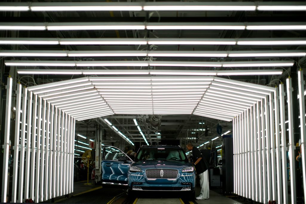A new Lincoln Aviator coming down the assembly line at the factory