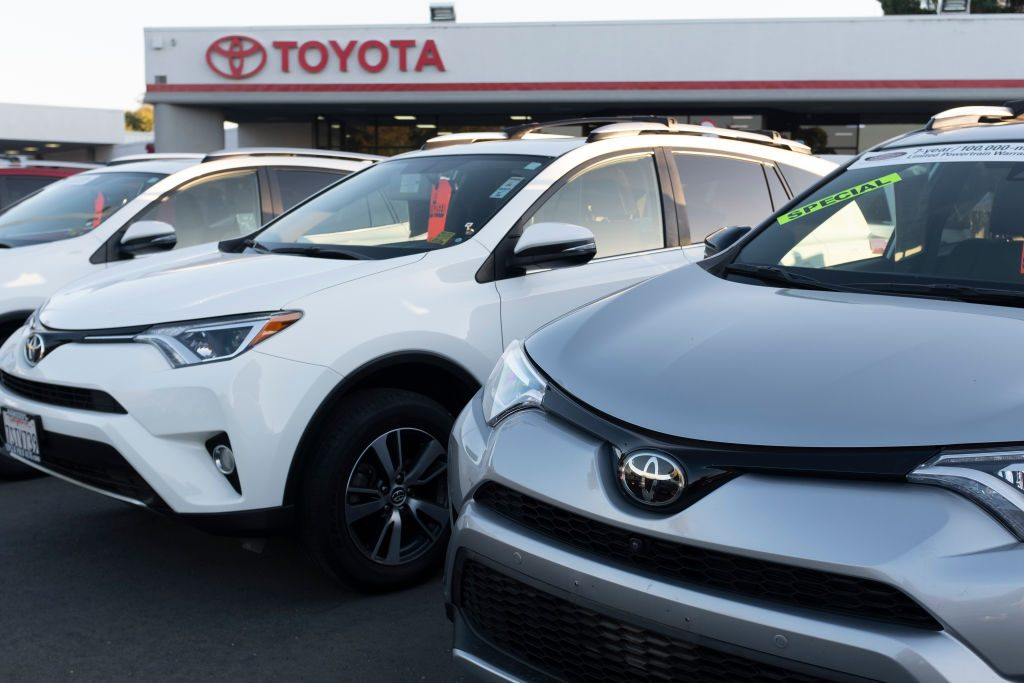 New cars for sale at a Toyota dealership