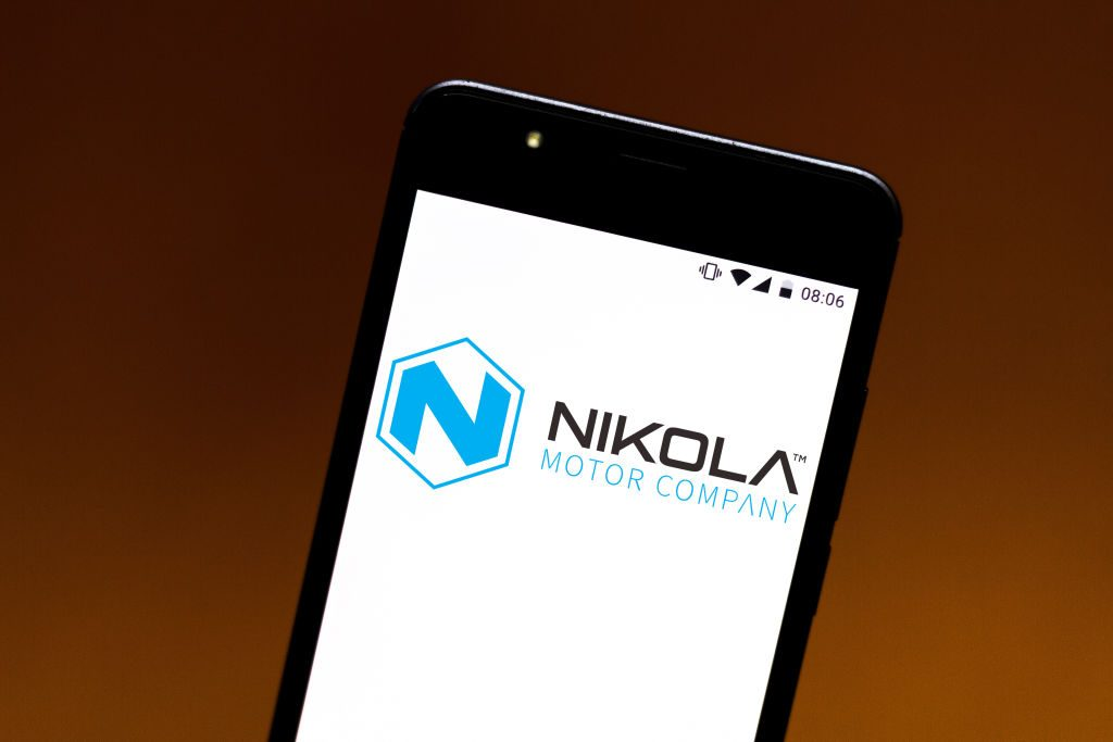 The Nikola Motor Company logo displayed on a smartphone