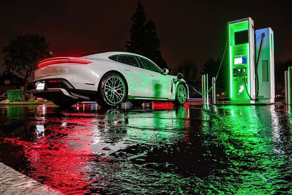 Porsche Taycan charging at Electrify America station