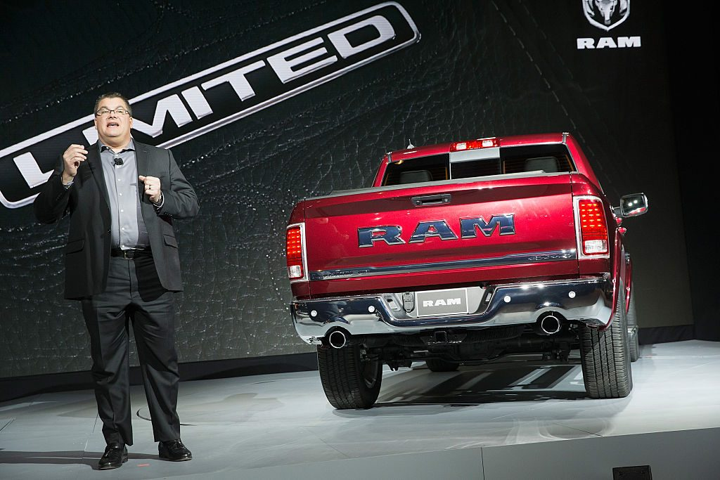 A Ram 1500 being debuted at an auto show