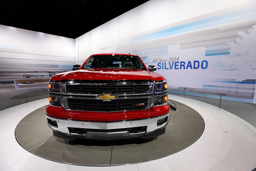 A Chevy Silverado on display at an auto show