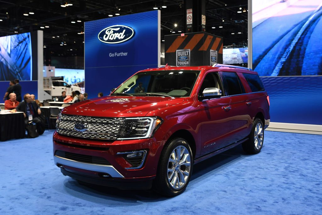 A Ford Expedition on display at an auto show