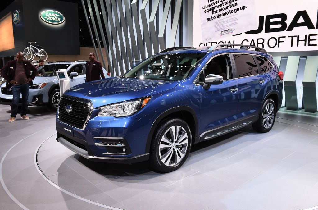 A new Subaru Ascent on display during a car show