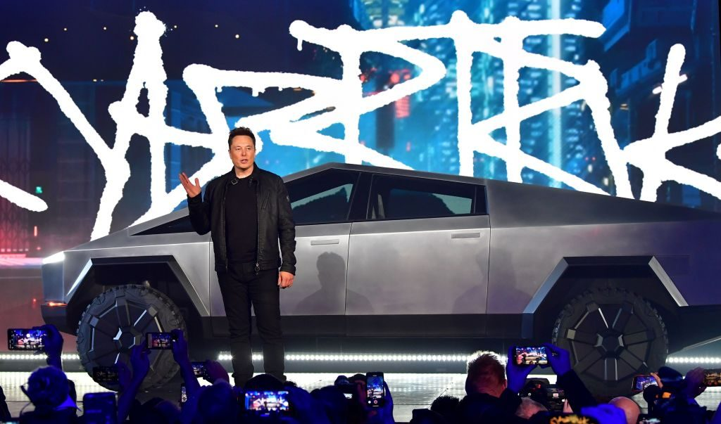 The Tesla Cybertruck as unveiled by Elon Musk, the co-founder and CEO of Tesla