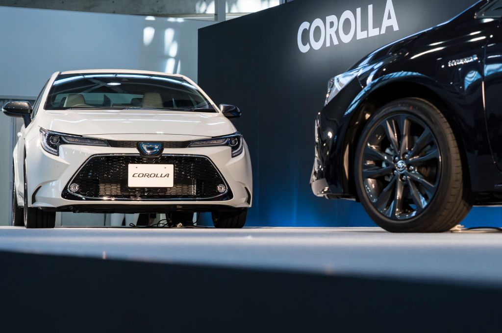 The Toyota Corolla being unveiled in Tokyo, Japan